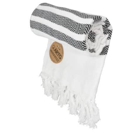 Hamamzz® Dalaman Towel in White Black von A&R (Artnum: AR053