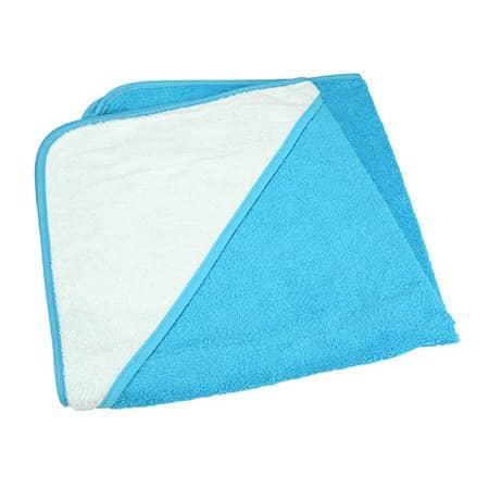 Baby Hooded Towel in Aqua Blue|White|Aqua Blue von A&R (Artnum: ARB032