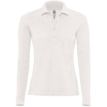 Polo Safran Pure Longsleeve / Women in White von B&C (Artnum: BCPW456