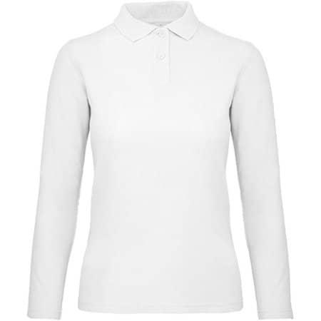 Long Sleeve Polo ID001 / Women in White von B&C (Artnum: BCPWI13