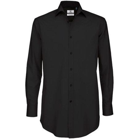 Poplin Shirt Black Tie Long Sleeve / Men in Black von B&C (Artnum: BCSMP21