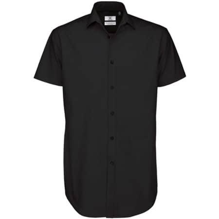 Poplin Shirt Black Tie Short Sleeve / Men in Black von B&C (Artnum: BCSMP22