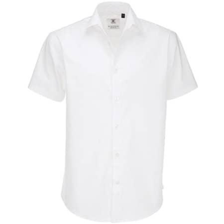 Poplin Shirt Black Tie Short Sleeve / Men in White von B&C (Artnum: BCSMP22
