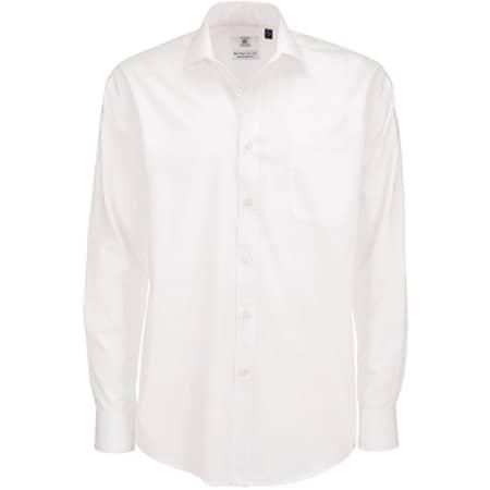 Poplin Shirt Smart Long Sleeve / Men in White von B&C (Artnum: BCSMP61