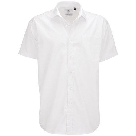 Poplin Shirt Smart Short Sleeve / Men in White von B&C (Artnum: BCSMP62
