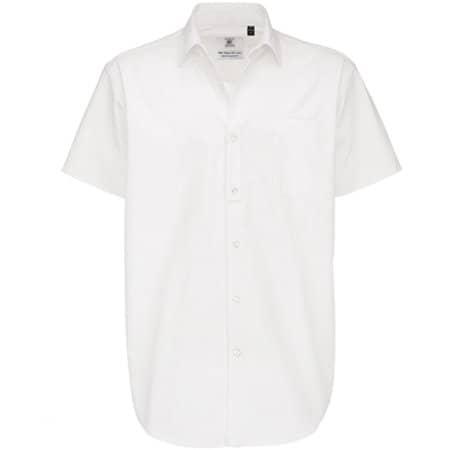 Twill Shirt Sharp Short Sleeve / Men in White von B&C (Artnum: BCSMT82