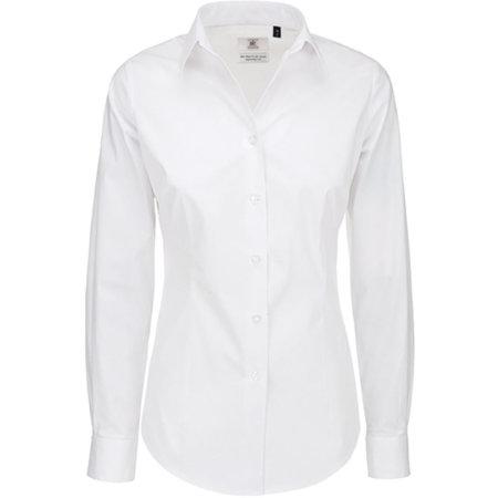 Poplin Shirt Black Tie Long Sleeve / Women in White von B&C (Artnum: BCSWP23