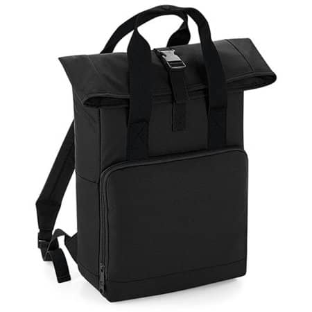 Twin Handle Roll-Top Backpack in Black von BagBase (Artnum: BG118