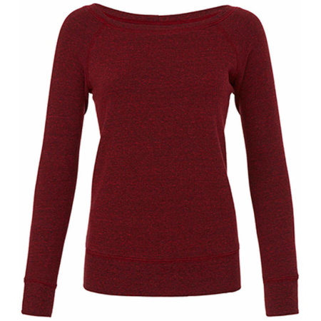 Women`s Sponge Fleece Wide Neck Sweatshirt in Cardinal Triblend (Heather) von Bella (Artnum: BL7501