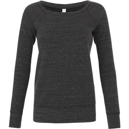 Women`s Sponge Fleece Wide Neck Sweatshirt in Charcoal-Black Triblend (Heather) von Bella (Artnum: BL7501