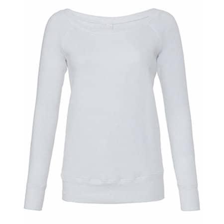 Women`s Sponge Fleece Wide Neck Sweatshirt in Solid White Triblend von Bella (Artnum: BL7501