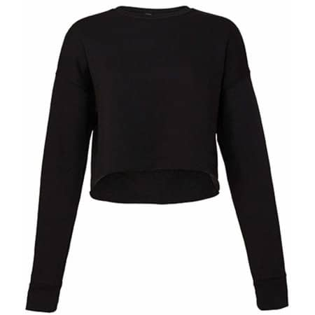 Women´s Cropped Crew Fleece in Black von Bella (Artnum: BL7503