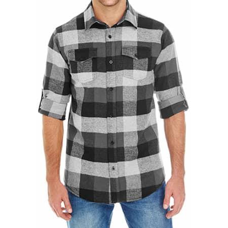 Woven Plaid Flannel Shirt in Black Check von Burnside (Artnum: BU8210