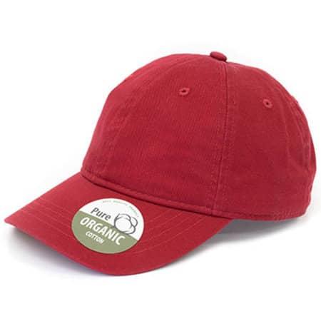 Organic Cotton Cap Unstructured in Red von Brain Waves (Artnum: BW7018