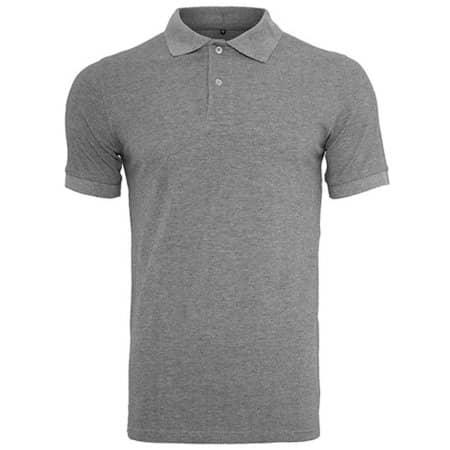 Polo Piqué Shirt in Heather Grey von Build Your Brand (Artnum: BY008
