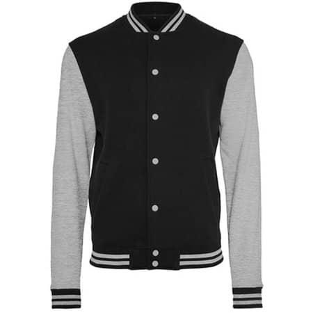 Sweat College Jacket in Black|Heather Grey von Build Your Brand (Artnum: BY015