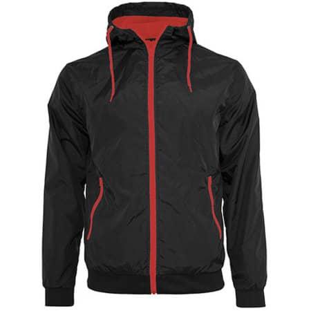 Windrunner Jacket in Black Red von Build Your Brand (Artnum: BY016
