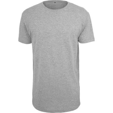 Shaped Long Tee in Heather Grey von Build Your Brand (Artnum: BY028