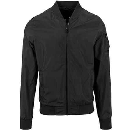 Nylon Bomber Jacket in Black von Build Your Brand (Artnum: BY045