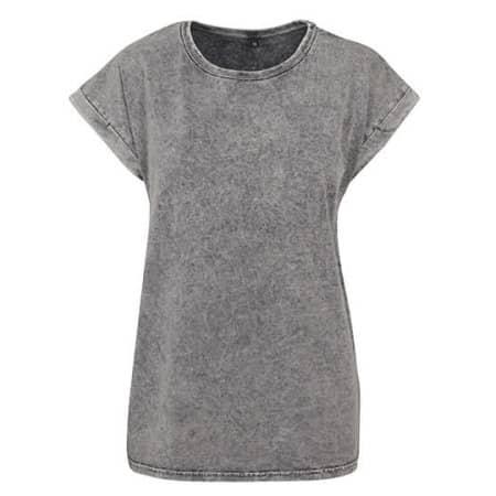 Ladies` Acid Washed Extended Shoulder Tee in Grey Black von Build Your Brand (Artnum: BY053