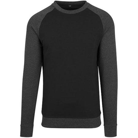 Raglan Crewneck in Black|Charcoal (Heather) von Build Your Brand (Artnum: BY076