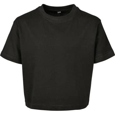 Girls Cropped Jersey Tee in Black von Build Your Brand (Artnum: BY114