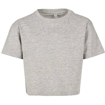 Girls Cropped Jersey Tee in Heather Grey von Build Your Brand (Artnum: BY114