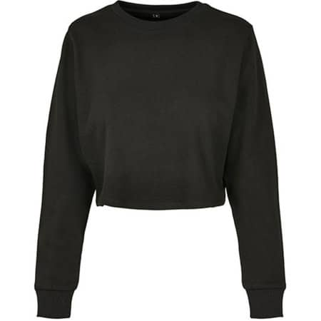 Ladies Terry Cropped Crew in Black von Build Your Brand (Artnum: BY131