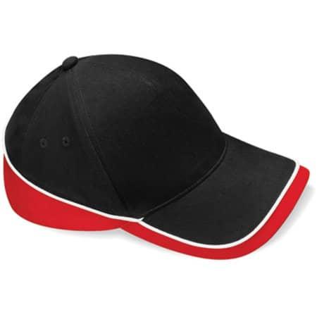 Teamwear Competition Cap in Black Classic Red White von Beechfield (Artnum: CB171