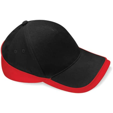 Teamwear Competition Cap in Black|Classic Red von Beechfield (Artnum: CB171