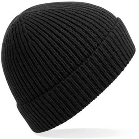 Engineered Knit Ribbed Beanie in Black von Beechfield (Artnum: CB380