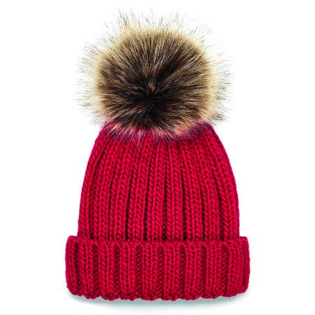 Junior Fur Pop Pom Chunky Beanie von Beechfield (Artnum: CB412b