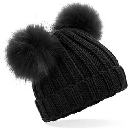 Infant Faux Fur Double Pom Pom Beanie in Black von Beechfield (Artnum: CB414A