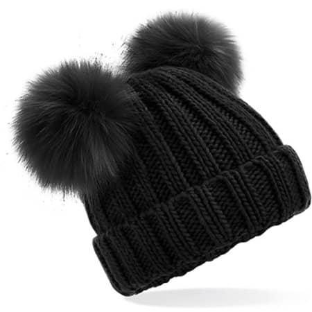 Junior Faux Fur Double Pom Pom Beanie in Black von Beechfield (Artnum: CB414B