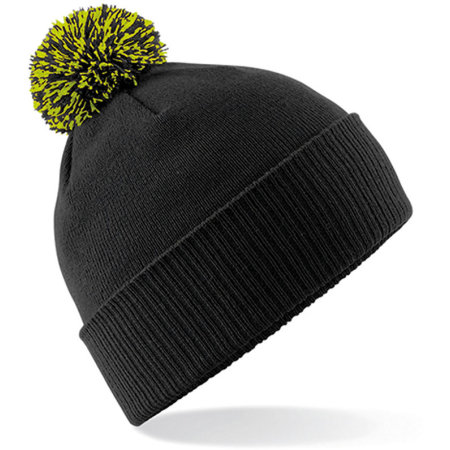 Snowstar Beanie in Black|Lime Green von Beechfield (Artnum: CB450