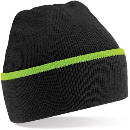 Teamwear Beanie in Black|Lime Green von Beechfield (Artnum: CB471
