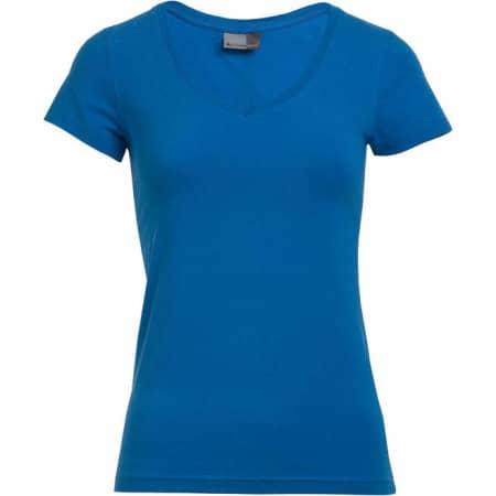 Women`s Slim Fit V-Neck-T in Turquoise von Promodoro (Artnum: E3086