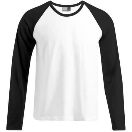 Men`s Baseball-T Longsleeve in White Black von Promodoro (Artnum: E3490