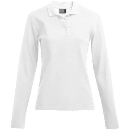 Women`s Heavy Polo Longsleeve in White von Promodoro (Artnum: E4605