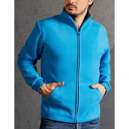 Men`s Double Fleece Jacket - 7971 in Turquoise|Light Grey (Solid) von Promodoro (Artnum: E7971