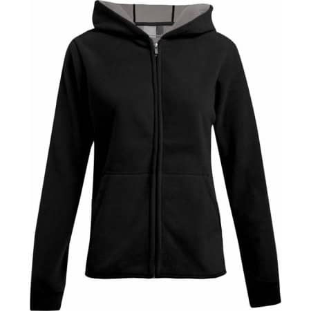 Women`s Hooded Fleece Jacket in Black|Light Grey (Solid) von Promodoro (Artnum: E7981
