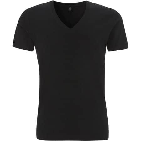 Earthpositive® Men's Organic V-Neck T-Shirt in  Black von EarthPositive (Artnum: EP03V