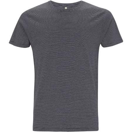 Mens/Unisex Organic T-Shirt in  White|Navy Stripes von EarthPositive (Artnum: EP100