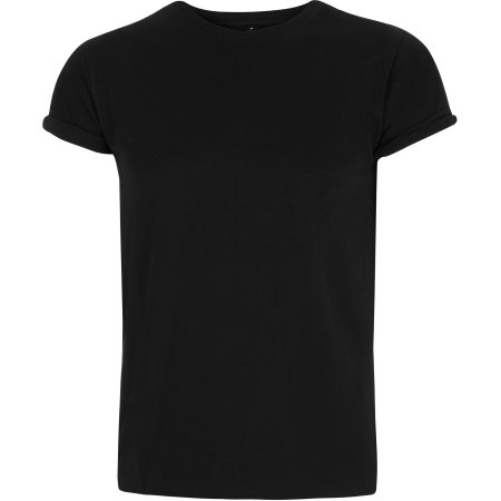 Earthpositive® Men`s Organic Rolled-Up Sleeve T-Shirt in Black von EarthPositive (Artnum: EP11