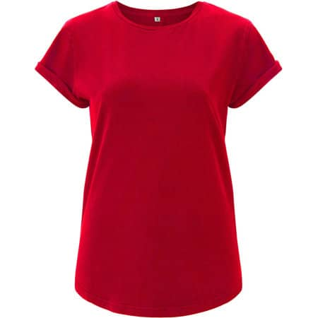 Women's Rolled Up Sleeve Organic in Red von EarthPositive (Artnum: EP16
