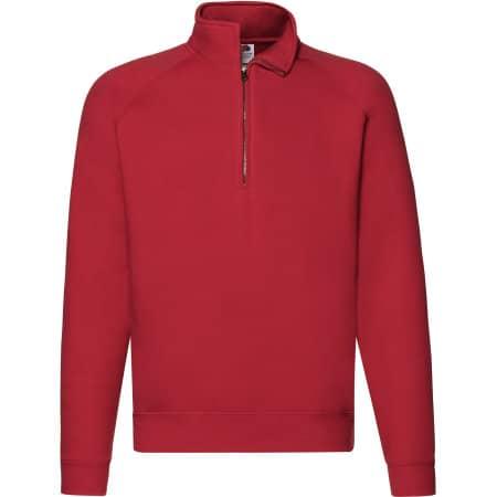 Premium Zip Neck Raglan Sweat in Red von Fruit of the Loom (Artnum: F382