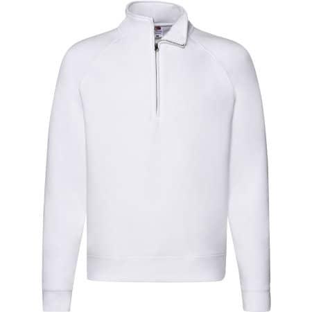 Premium Zip Neck Raglan Sweat in White von Fruit of the Loom (Artnum: F382