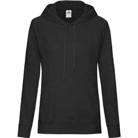 Lightweight Hooded Sweat Lady-Fit in Black von Fruit of the Loom (Artnum: F435