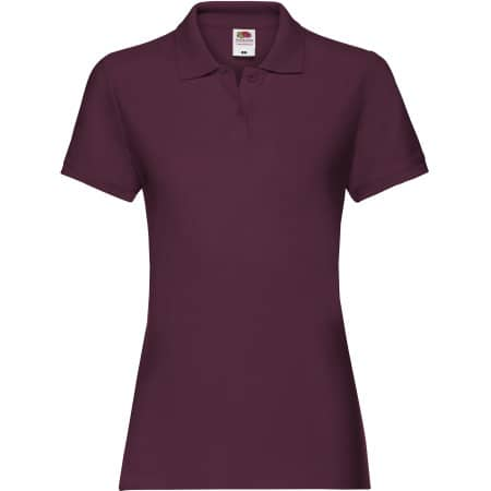 Premium Polo Lady-Fit in Burgundy von Fruit of the Loom (Artnum: F520