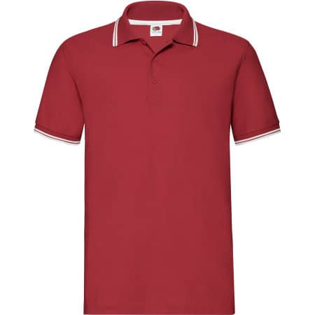 Tipped Pique Polo in Red|White von Fruit of the Loom (Artnum: F586N